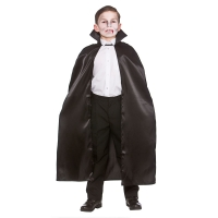 Deluxe Children's Satin Cape with Collar - BLACK 95cm
