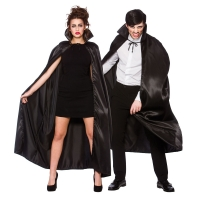 Deluxe Satin Cape with Collar (Adult) - Black