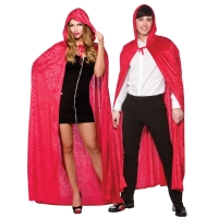 Deluxe Velvet Cape with Hood - Red  (140cm)