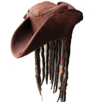 Caribbean Pirate Hat - with Braided hair & beads
