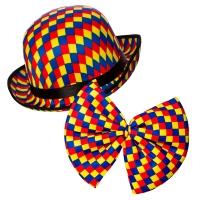 Clown Bowler Hat & Bow Tie