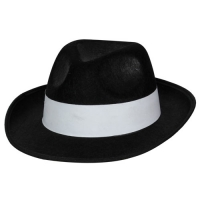 Felt Gangster Hat - Black with white band