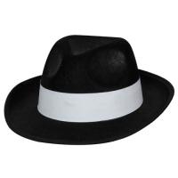 Felt Gangster Hat - Black with white band