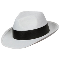 Felt Gangster Hat - White with black band