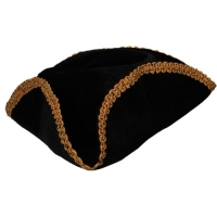 Pirate Hat - Black with Gold Braid Trim