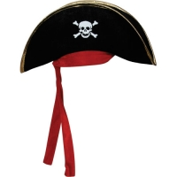Pirate Hat- Black with gold Trim & Red Bandana